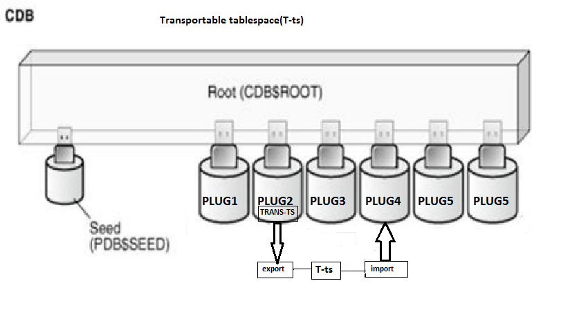 Transportable Tablespace between two pluggable database(PDB's).