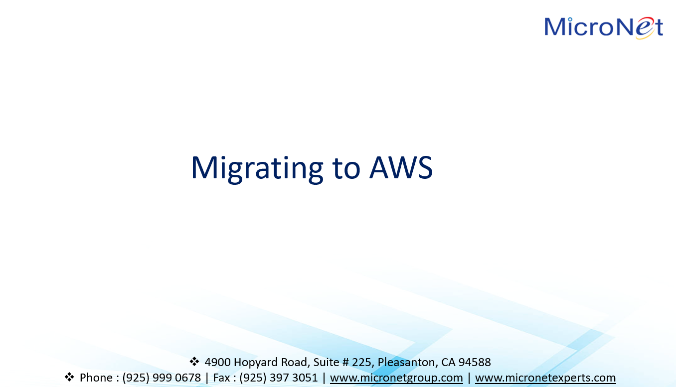 Migrating to AWS.