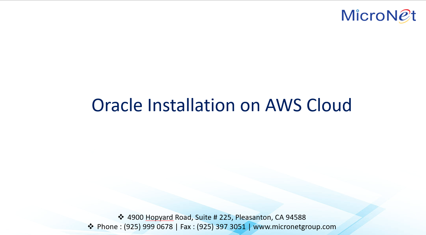 Oracle Installation on AWS cloud