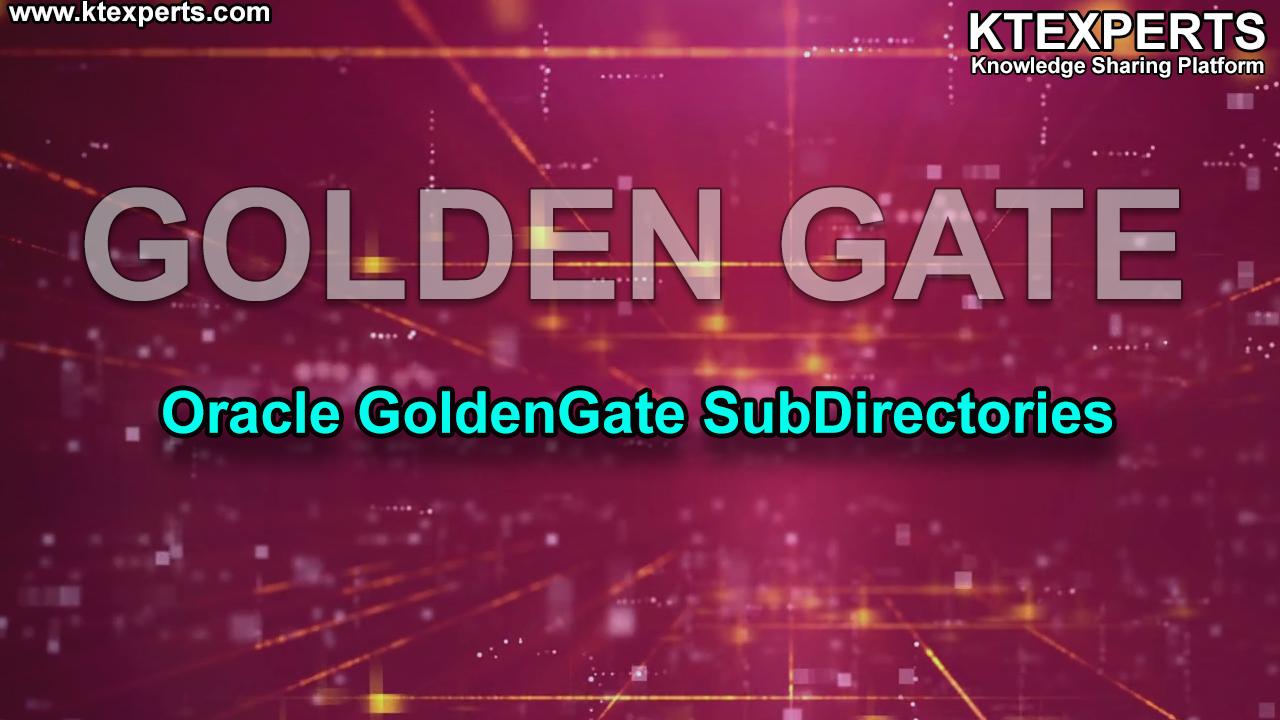 ORACLE GOLDENGATE SUBDIRECTORIES