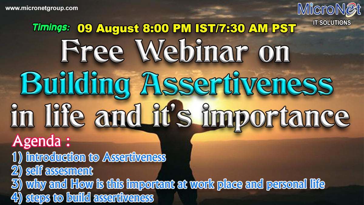 Online Webinar On Building Assertiveness in life and it's importance