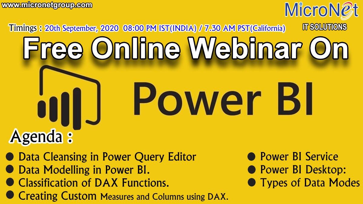 Online Free Webinar On Power BI