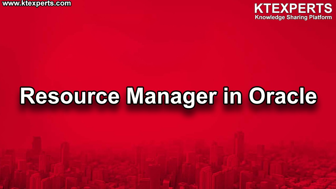 Resource Manager in Oracle